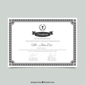 Fronteira de certificado com ornamentação