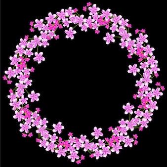 Fronteira de círculo multi flor de cerejeira flor