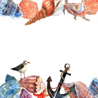Fronteira de concha marinha ou padrão de quadro com âncora e gaivota na costa do oceano