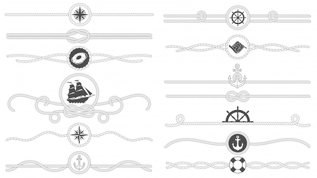 Fronteira de corda náutica. linha de cordas náuticas amarradas, divisor de âncora de navio do mar e conjunto isolado de decoração retro marinha