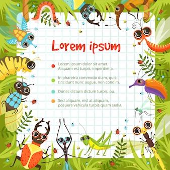 Fronteira de desenhos animados com insetos engraçados