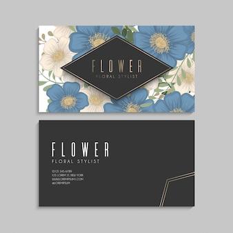 Fronteira de desenhos de flores - flores azuis