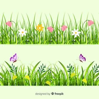 Fronteira de estilo realista de grama