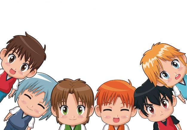 Fronteira de expressões faciais cute anime teenagers