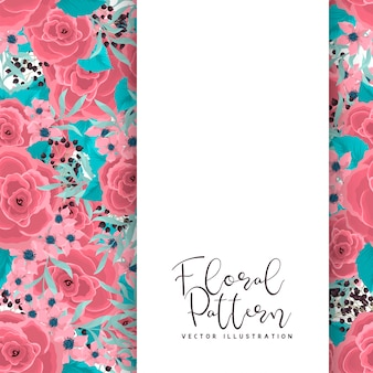 Fronteira de flor desenho flores cor de rosa em fundo verde menta