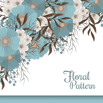 Fronteira de flor floral verde hortelã