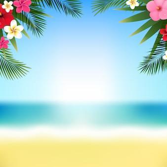 Fronteira de flores tropicais e praia com malha de gradiente