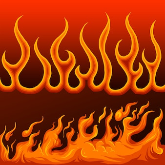 Fronteira de fogo desenhada de mão