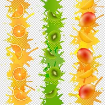 Fronteira de frutas com tinta isolada