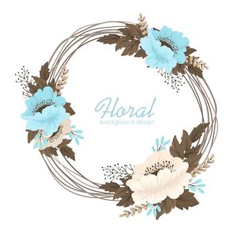 Fronteira de grinalda floral azul claro