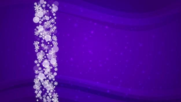 Fronteira de inverno com flocos de neve ultravioleta. cenário de ano novo. quadro de neve para panfleto, cartão-presente, convite para festa, oferta de varejo e anúncio. fundo na moda de natal. banner de feriado gelado com borda de inverno
