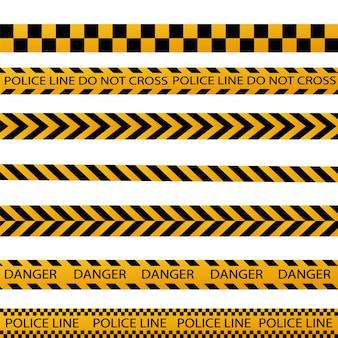 Fronteira de listra preta e amarela da polícia, construção, conjunto de vetores de fitas sem costura de cuidado de perigo