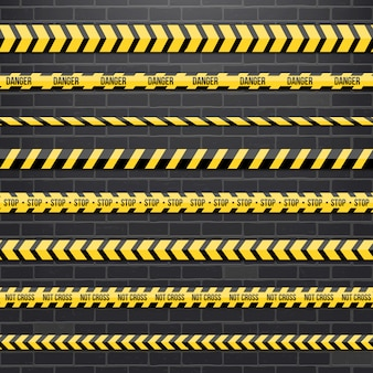 Fronteira de listra preta e amarela da polícia.