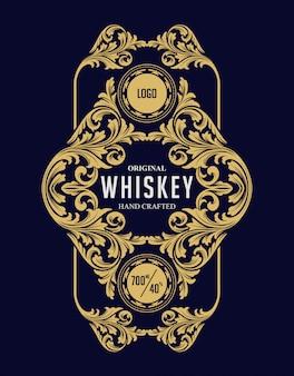 Fronteira de luxo whisky rótulo vintage de moldura ouro