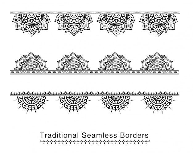 Fronteira de mandala sem costura projeta detalhes altos