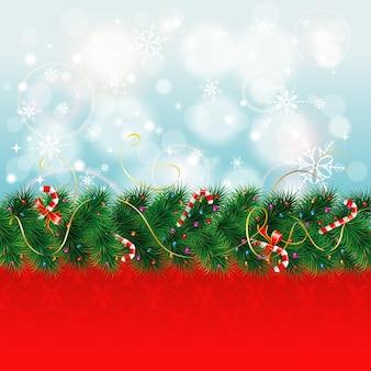 Fronteira de natal com ramos de abeto e doces, ilustração vetorial