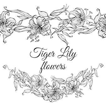 Fronteira de padrão de lírio de tigre e guirlanda de flores
