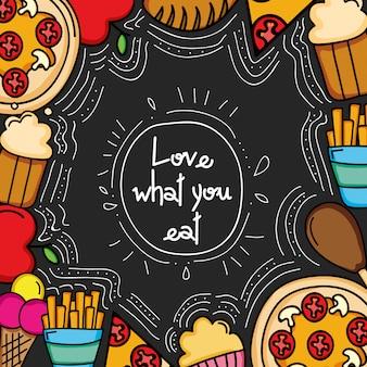 Fronteira de quadro de comida deliciosa