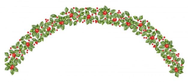 Fronteira de ramo de azevinho de natal com fundo de baga. cartão de feliz ano novo