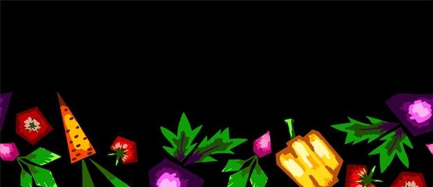 Fronteira de vetor sem costura horizontal de tema vegetal. vegetais estilizados brilhantes em um fundo preto. design com espaço em branco para copiar texto.