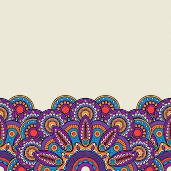 Fronteira desenhada mão indiana ornamentado