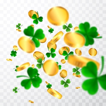Fronteira do dia de são patrício com quatro verdes e trevos de folhas de árvore e moedas de ouro. símbolos irlandeses da sorte e do sucesso.