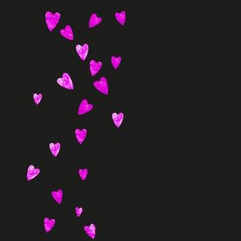 Fronteira do dia dos namorados com corações rosa glitter. 14 de fevereiro dia. confetes de vetor para modelo de fronteira de dia dos namorados. textura desenhada mão do grunge. tema de amor para cartaz, vale-presente, banner.