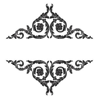 Fronteira e moldura em estilo barroco. cor preto e branco. decoração de gravura floral