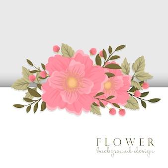 Fronteira floral linda rosa peônia
