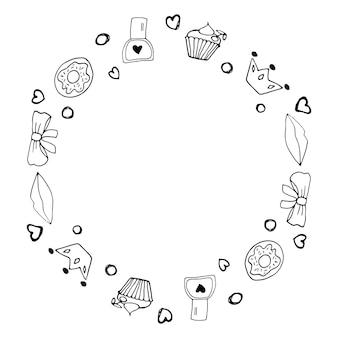 Fronteira fofa com símbolos do feminismo e movimento de positividade corporal. elementos de doodle desenhado à mão, adesivos, frase e letras. projeto de conceito de mulheres.