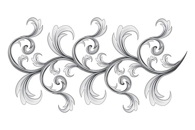 Fronteira ornamental barroca desenhada à mão