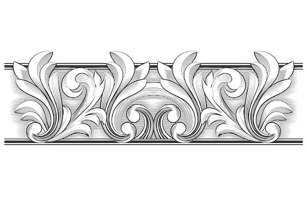 Fronteira ornamental desenhados à mão realista
