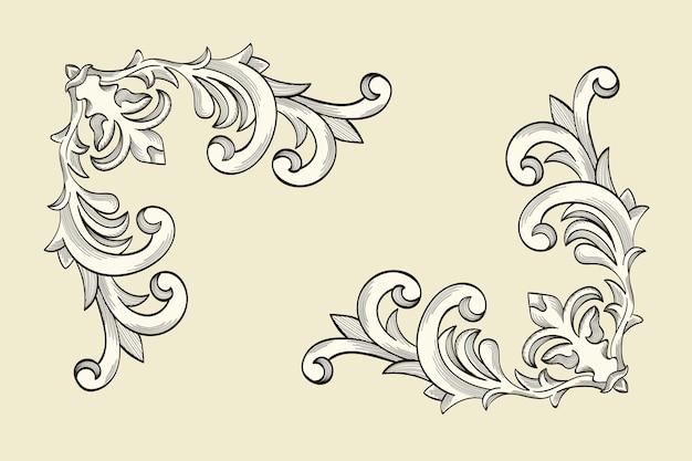 Fronteira ornamental em estilo barroco