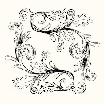 Fronteira ornamental realista de mão desenhada de estilo barroco