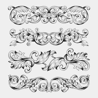 Fronteira ornamental realista de mão desenhada