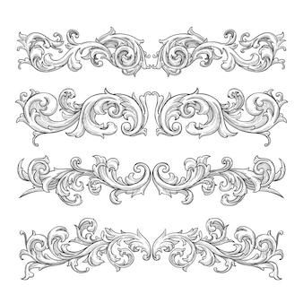 Fronteira ornamental realista desenhados à mão