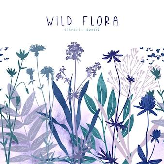 Fronteira perfeita com elementos florais selvagens