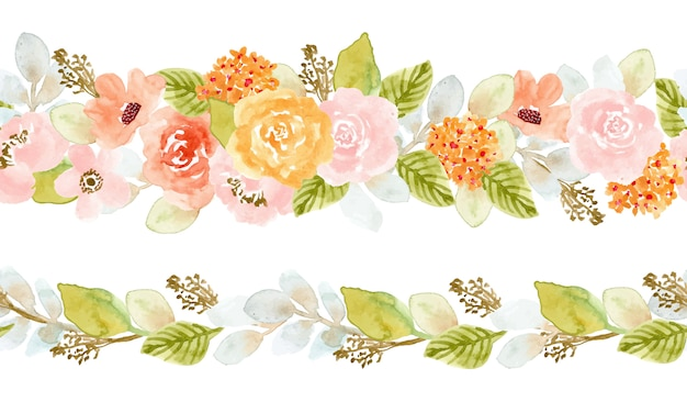 Fronteira sem costura aquarela floral suave