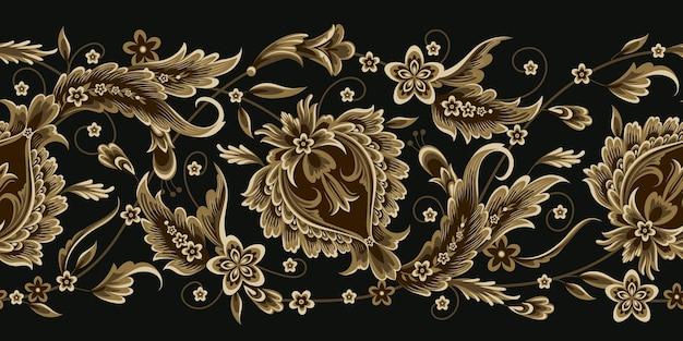 Fronteira sem costura com elemento floral decorativo em estilo oriental