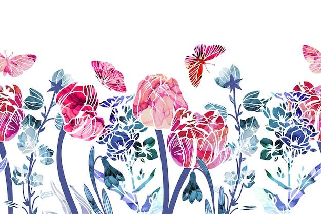Fronteira sem costura com flores da primavera, tulipas e campanários