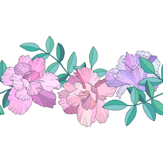 Fronteira sem costura ou escova com flores cor de rosa abstratas e ramos verdes com folhas. ilustração de mão desenhada.