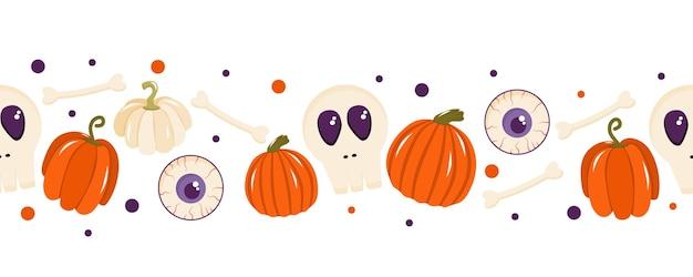 Fronteira sem costura para o halloween com ossos de abóboras doces e um globo ocular. ilustração vetorial
