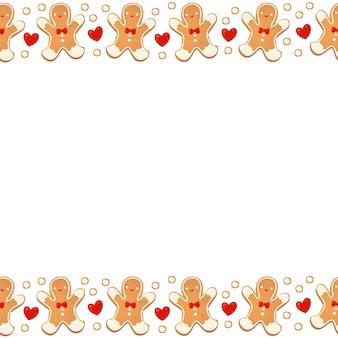 Fronteira sem emenda de biscoitos de gengibre de natal isolada. guirlanda decorativa de ano novo. desenho animado desenhado à mão ilustração vetorial