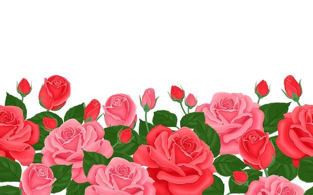 Fronteira sem emenda de rosas cor de rosa e vermelhas. borda floral horizontal.