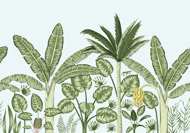 Fronteira sem emenda de vetor com plantas tropicais