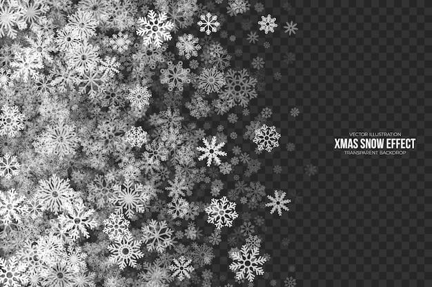 Fronteira transparente de efeito de neve de natal