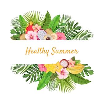 Fronteira tropical com frutas exóticas, flores, folhas