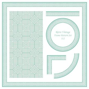 Fronteira vintage sem costura padrão de fundo definido quadrada verificação espiral cruzada linha de quadro.