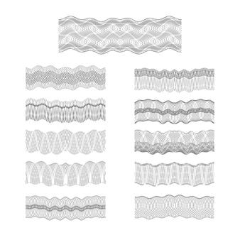 Fronteiras de guilhoché vector conjunto de textura de padrão de dinheiro de gravura