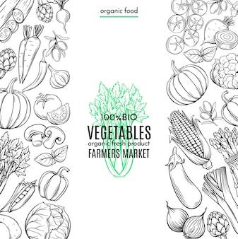 Fronteiras de modelo com legumes desenhados à mão